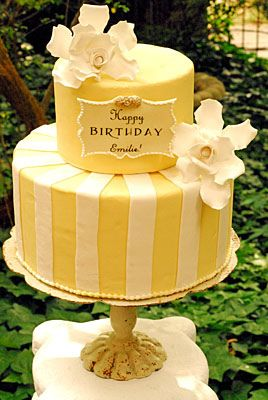 Beautiful, pretty & elegant 2 #Tier Pastel #Yellows #Striped #Cake with gorgeous #Flowers and plaque detail! We love and had to share! Great #CakeDecorating!