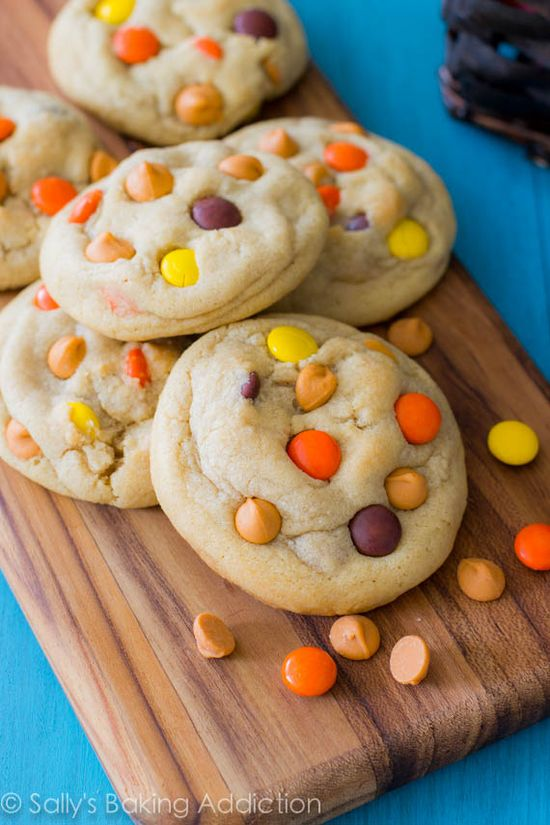 Soft-Baked Reeses Pieces Butterscotch Cookies.  Learn the secrets behind what makes them so soft, so chewy, and so thick!