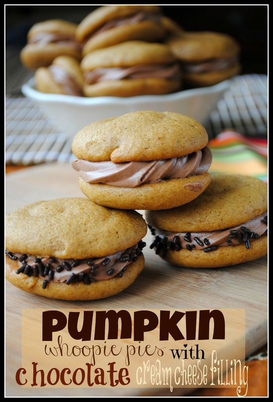 Pumpkin Whoopie Pies with Chocolate Cream Cheese Filling- so moist and delicious, you will crave these all year long #pumpkin www.shugarysweets...