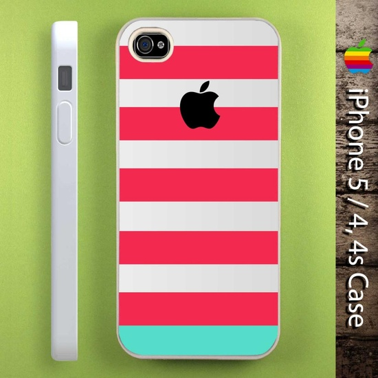 Pink Blue Stripes on iPhone 5 Case, iPhone 4 Case, iPhone 4s Case, Unique iPhone Case, iPhone Case Cover (DEFAULT : iPhone 5 WHITE Case)