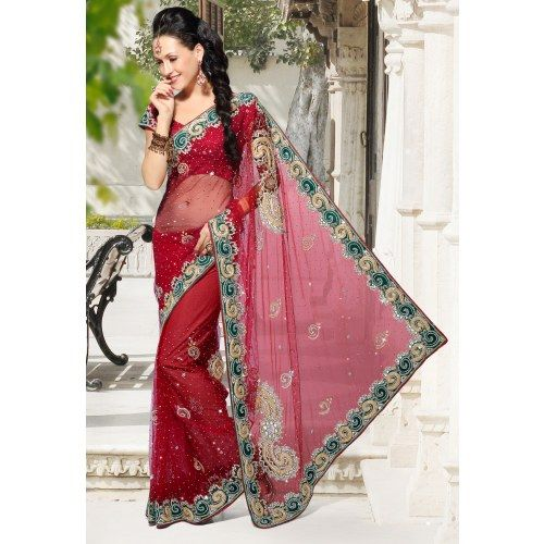 By New fashionable beautiful Red color heavy work Designer saree- Online Designer Saree Shopping at Surat Sarees