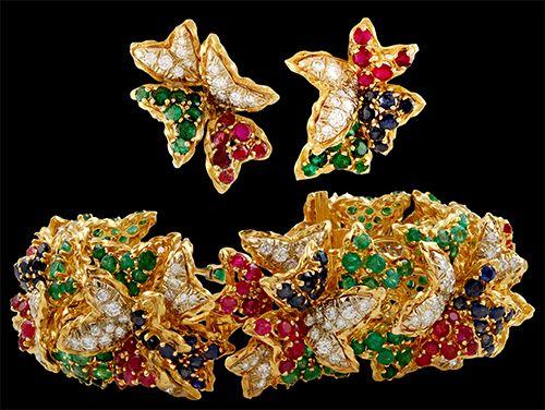 18kt. Yellow Gold Diamond, Sapphire,Ruby & Emerald