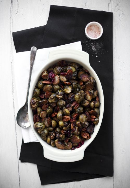 roasted brussels sprouts with balsamic, cranberries, and pecans.
