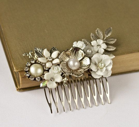 Bridal Hair Accessories - Vintage Silver Bridal Hair Comb, Wedding Hair Accessories Floral Hair Piece, Old Hollywood, Something Old, Collage