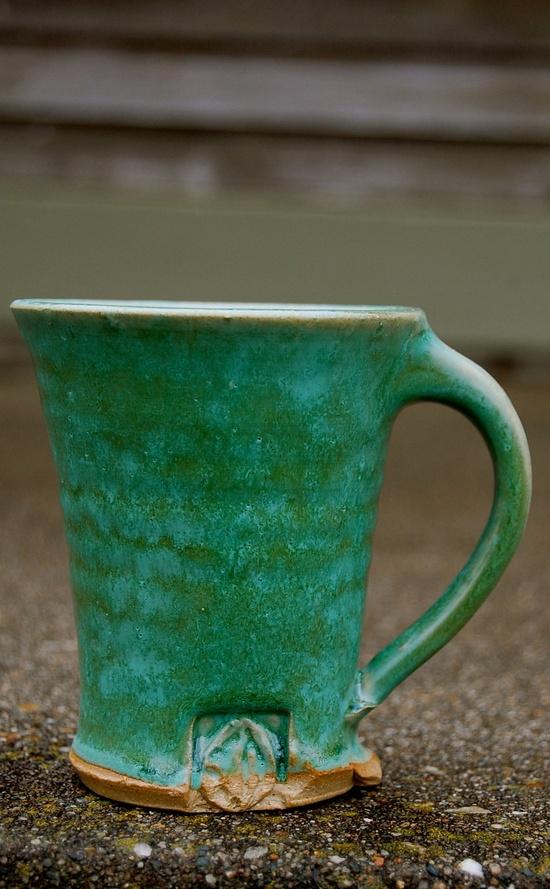emerald green opalescent mug.
