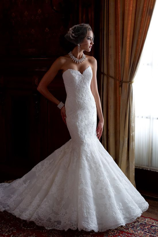 Lace fit and flare gown by David Tutera for Mon Cheri / #Romantic Life Style
