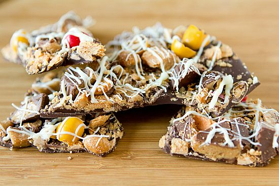 Leftover Halloween Candy Bark. I got rid of all of our left over candy by using this recipe and taking it to work with me.
