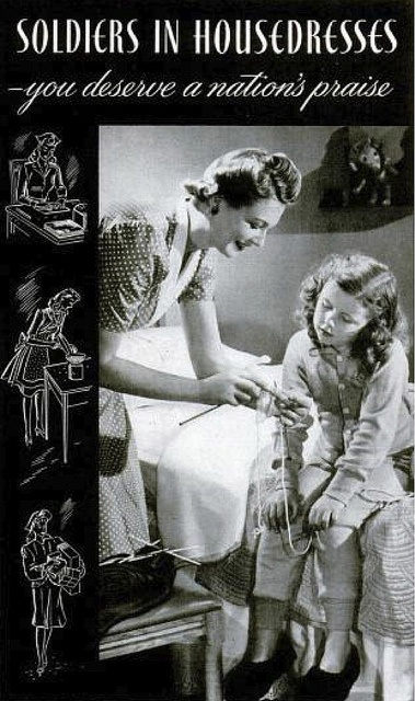 Soldiers in housedresses...indeed they truly were. #vintage #mother #homemaker #WW2 #housewife #1940s