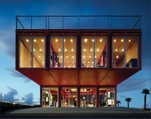 Made out of shipping containers, PUMA City has 3 storey store space of 11,000 sqf including bar/lounge area and 2 decks, by LOT-EK #architecture