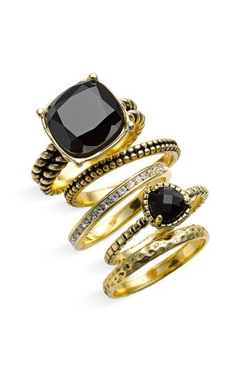 Ariella Collection Multi Stone Stackable Rings (Set of 5)