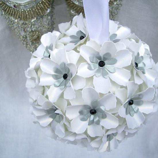 Pomander - Snow White  Handmade Paper Flowers by DragonflyExpression