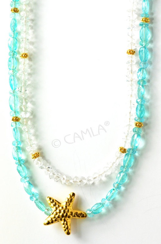 Sea Green Gold Starfish Necklace by Camla.