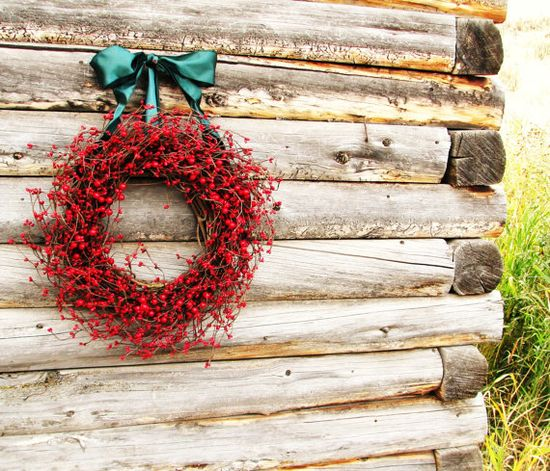 RUSTIC CHRISTMAS Wreath-RED Berry Wreath-Year Round Wreath- Door Decor-Rustic Home Decor-Scented Apple Cinnamon-Choose Scent and Ribbon. $55.00, via Etsy.