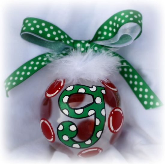 Personalized and hand painted Initial Monogrammed Christmas ornament