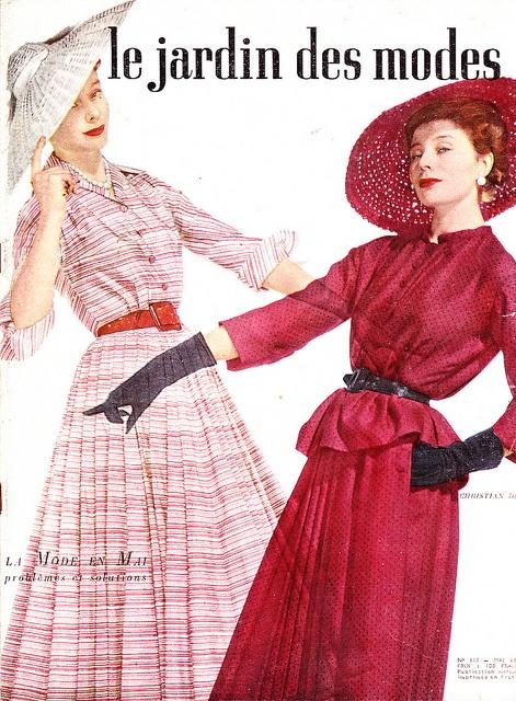 Jardin des modes 1948 (beautiful looks both!). #vintage #1940s #fashion #dresses #hats