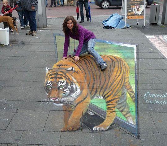 Tiger illusion  (3D chalk art on sidewalk)