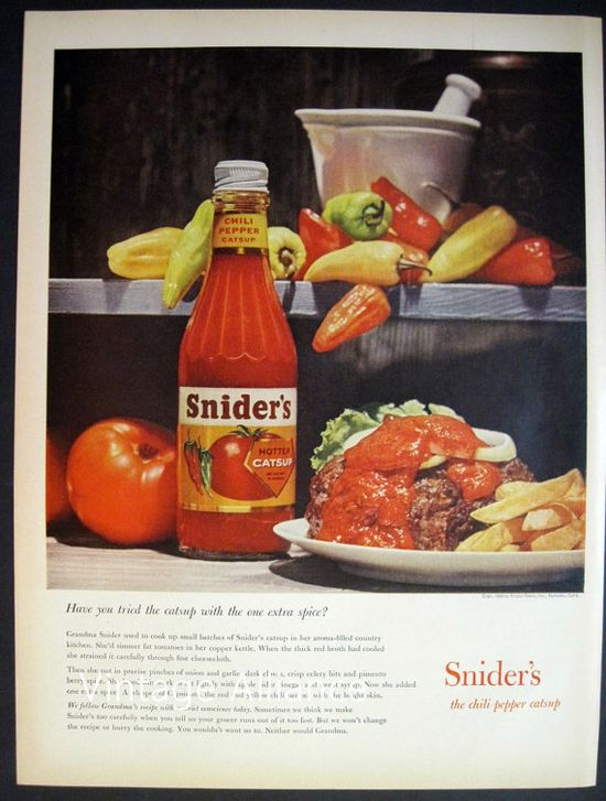 Kitchen decor Snider's Catsup Ketchup hot by VintageAllianceAds, $5.95