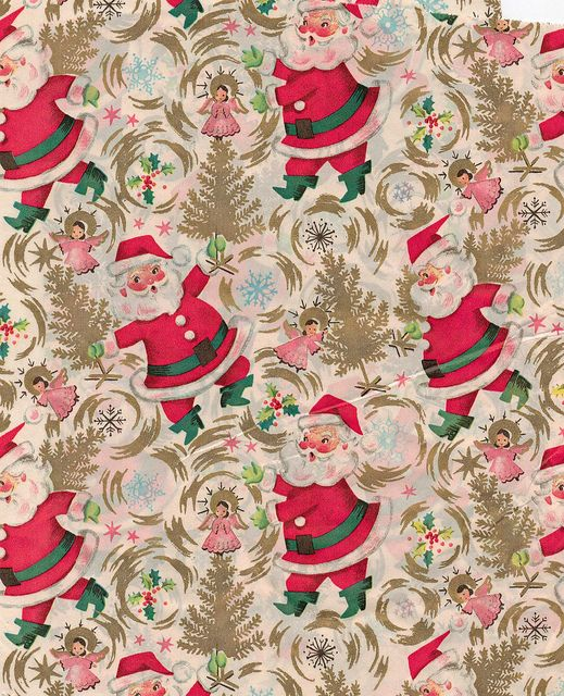 Vintage Santa Christmas Wrapping Paper.
