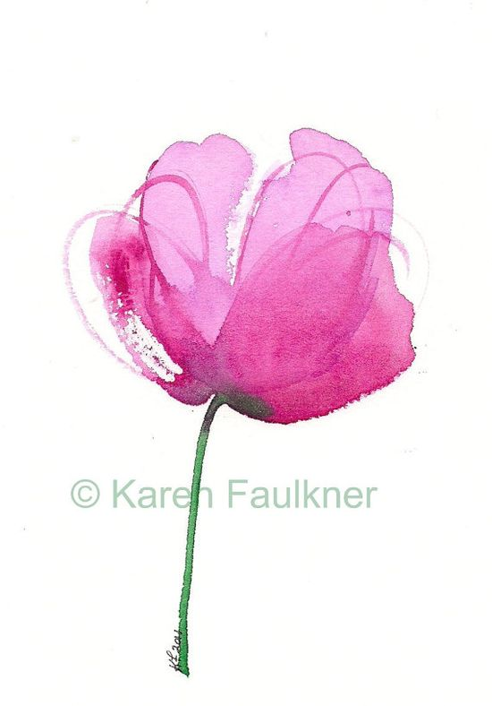 Peony pink watercolor flower giclee fine art print. $15.00, via Etsy.
