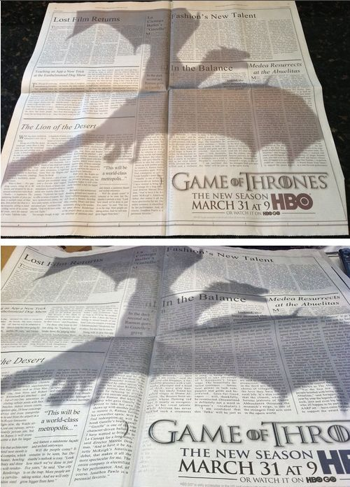 """This """"Game Of Thrones"""" Ad Is The Best Print Ad Of TheYear in the New York Times"""