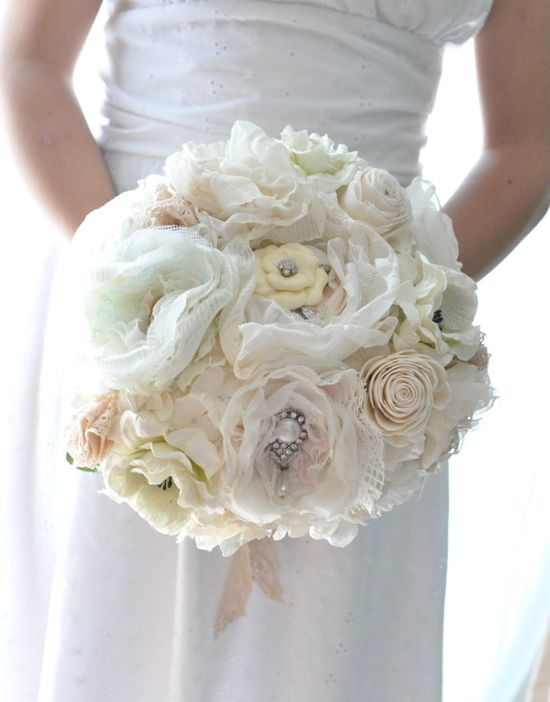 vintage romance inspired fabric flower paper flower bouquet, flowers of seafoam, apricot, pale pink and cream wedding flowers. $268.00, via Etsy.