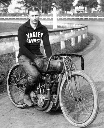 Ralph Hepburn on Harley-Davidson motorcycle