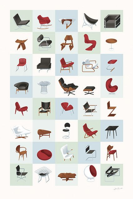 Mid-Century Modern Furniture Poster (Cool)