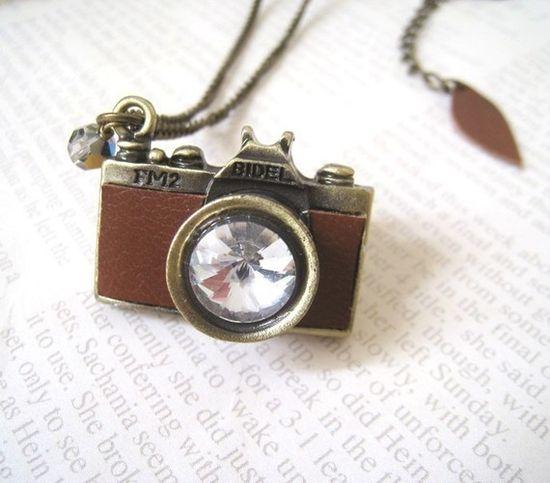 Tiny camera necklace...love.