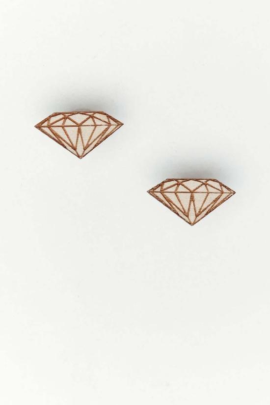 Wood Diamond Studs