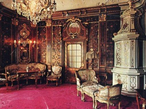 Peles Castle Interior - Romania, I love the white and gold heater in the corner!