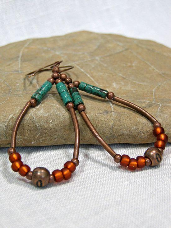 Turquoise Beaded Hoop Earrings  by StoneWearDesigns