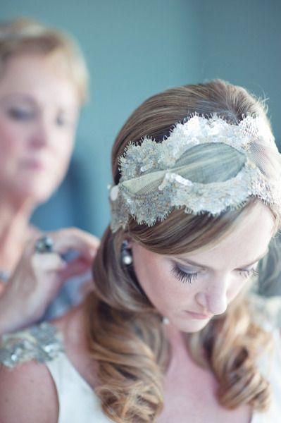 Lace headband bridal wedding hair     www.stylemepretty...