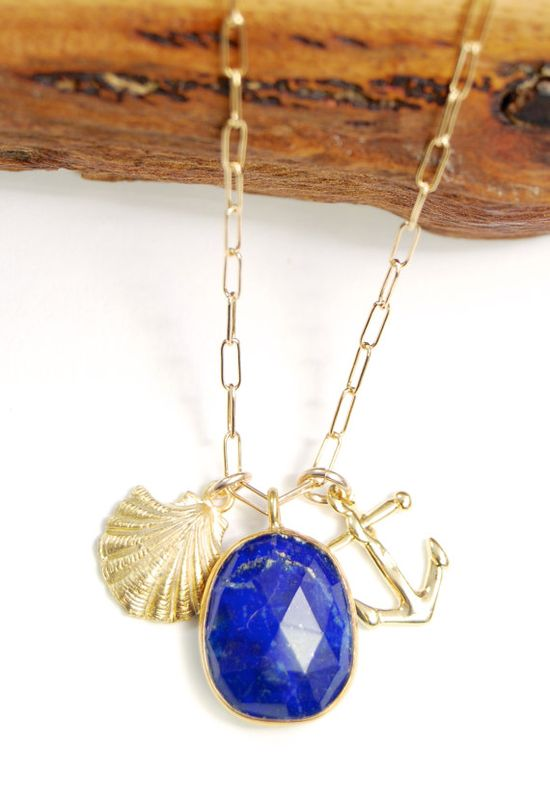 Kamoana necklace - gold nautical charm necklace, blue lapis lazuli shell anchor charm necklace, gold pendant necklace, hawaii necklace, mau
