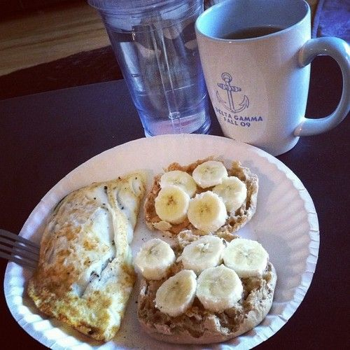 Breakfast! Spinach & salsa egg white omelet with a PB & banana whole wheat muffin :) #healthy (Taken with Instagram)
