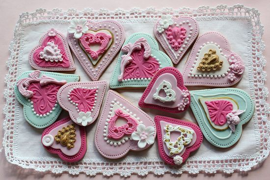 Heart cookies, via Flickr.