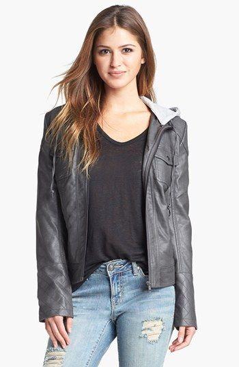 Jessica Simpson 'Heathcliff' Hooded Faux Leather Jacket