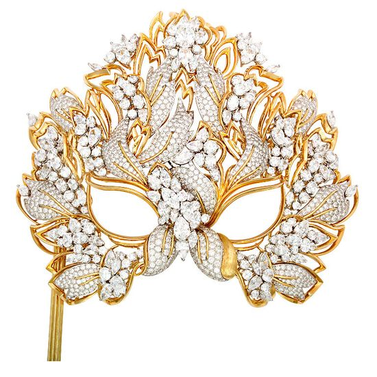 "The Elizabeth Taylor Diamond ""Lachrymosa"" Mask for amfAR 1993, 130ctw Diamonds, 18kt. Gold & Platinum"