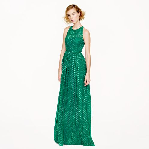 In love with this new J.Crew gown -- jade and polka dots!