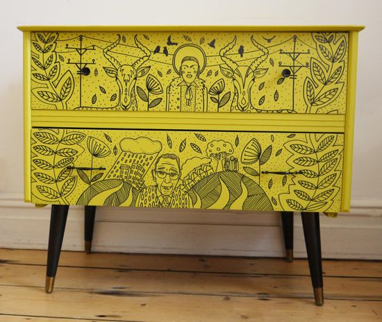 An illustrated chest of drawers adds an artful touch to any room.