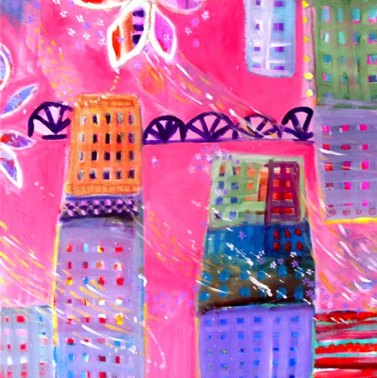 Original Cityscape Painting Abstract by kerriblackmanfineart