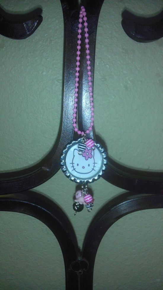HELLO KITTY CUTENESS .. NECKLACE W HANDMADE CHARMS