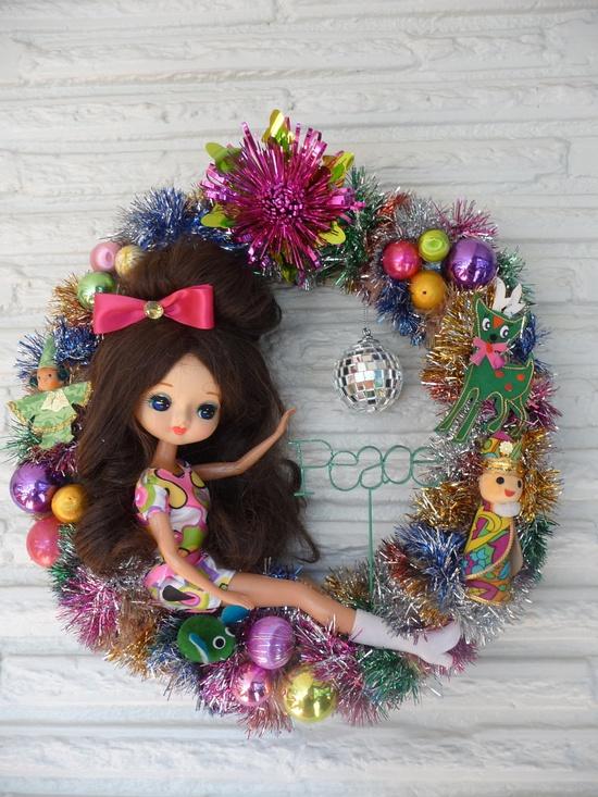 Whimsical Vintage Christmas Peace Bradley Doll Disco Wreath