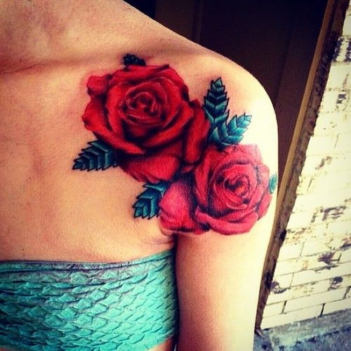 Real roses tattoo. The detail is amazing