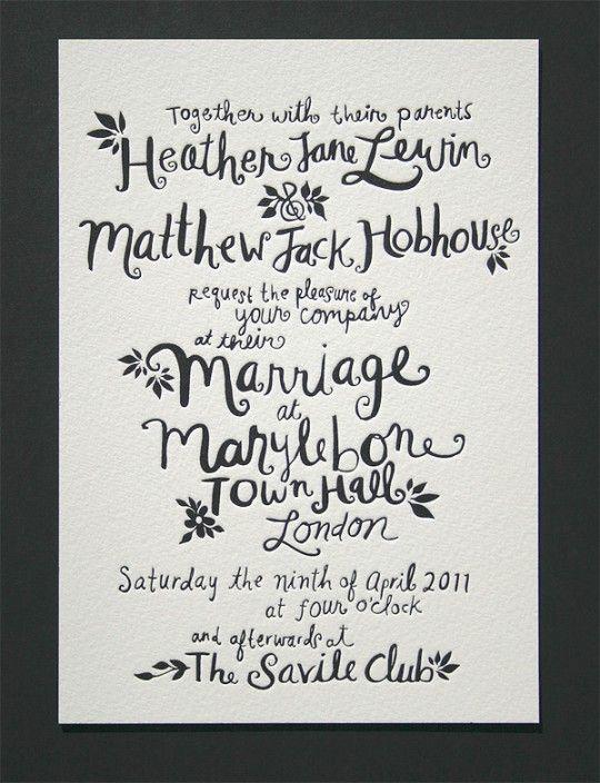Hand Drawn Letterpress Wedding invitation