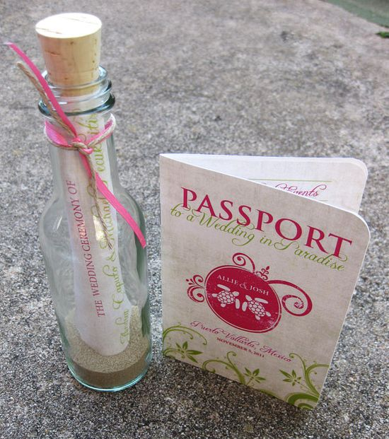 Passport invitation and message in a bottle program! LOVE this idea sooooo much!!!