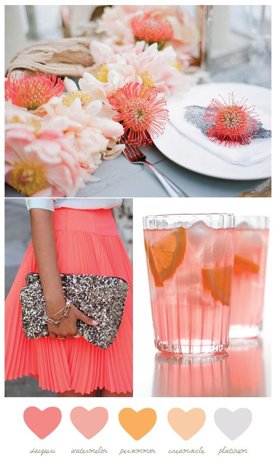 Coral Wedding Colors. I don't know what the coral spike flowers are at the top but I love them... Also the clutch!