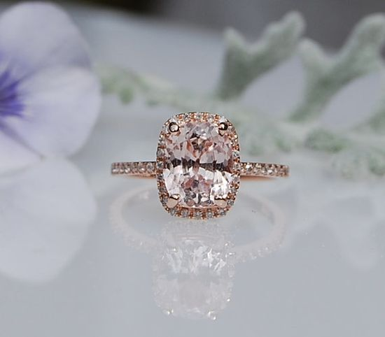 2.4ct Cushion ice peach champagne sapphire in 14k rose gold diamond ring engagement ring