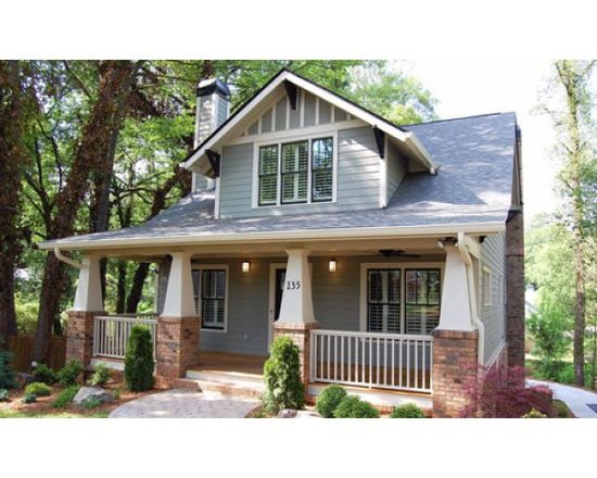 Green bungalow home plan.