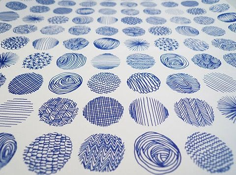 blue patterned circles