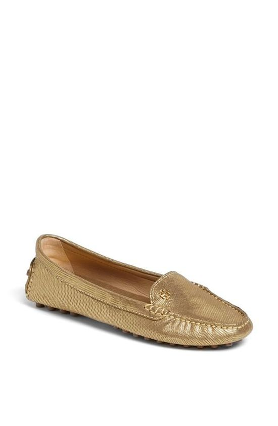 Gold Driving Loafer